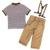 2-5 Años Verdadera Calidad Polos de Rayas de manga Corta Camiseta + Pantalones Largos con Tirantes Fresco Niños de Los Niños Ropa de niño Fijan MA06TZ