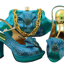 SB8084-1 Turquoise blue shoes matching clutches bag for african aso ebi  party with free 649e1b7bc2b2