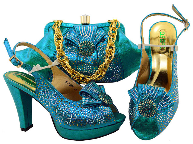 Sb8084 1 Turquoise Blue Shoes Matching Clutches Bag For African Aso Ebi Party With Free