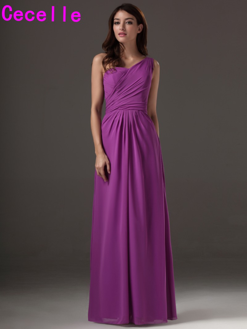 Long Floor Length A line Purple One Shoulder Bridesmaids Dresses ...