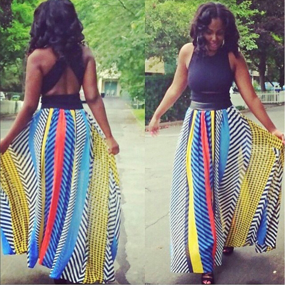 Online Get Cheap Colorful Print Maxi Skirt American Apparel ...