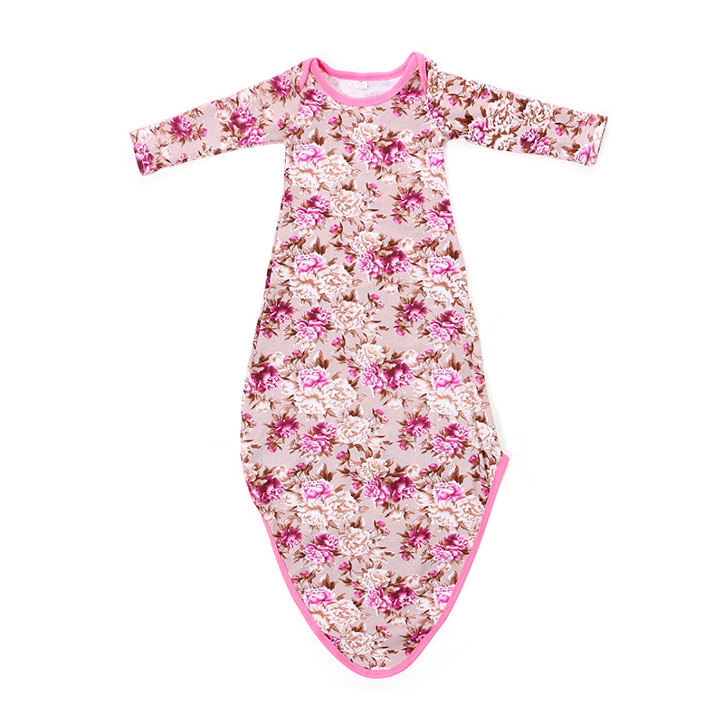 Kaiya Angel Baby Sleeping Gown Floral Tie Pink Newborn Baby Sleeper ...