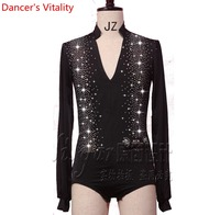 2018 The factory direct sale spot can Be Customized Long Sleeves Diamond Body square dance Latin Dance Clothing Men's Shirt