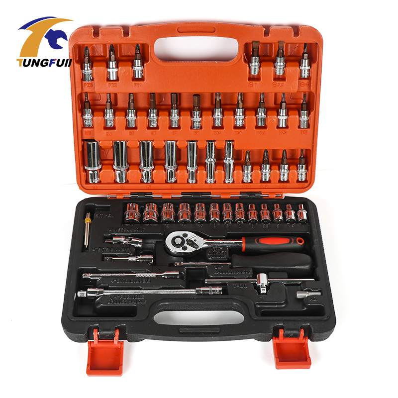 TUNGFULL 53pcs Spanner Socket Set 1/4 Car Repair Tool Ratchet Wrench Set Cr-V Hand Tools Combination Bit Set Repair Tool Kit mainpoint 8pc hex bit socket allen key ratchet drive adapter set 3 8socket wrench car hand tools repair kit cr v steel bits