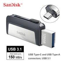 SanDisk Ultra çift mekanizmalı USB C tipi 256GB 128GB USB 3.1 Flash sürücü 64GB Mini USB sopa 32GB kalem sürücüler 16GB Flash Bellek SDDDC2