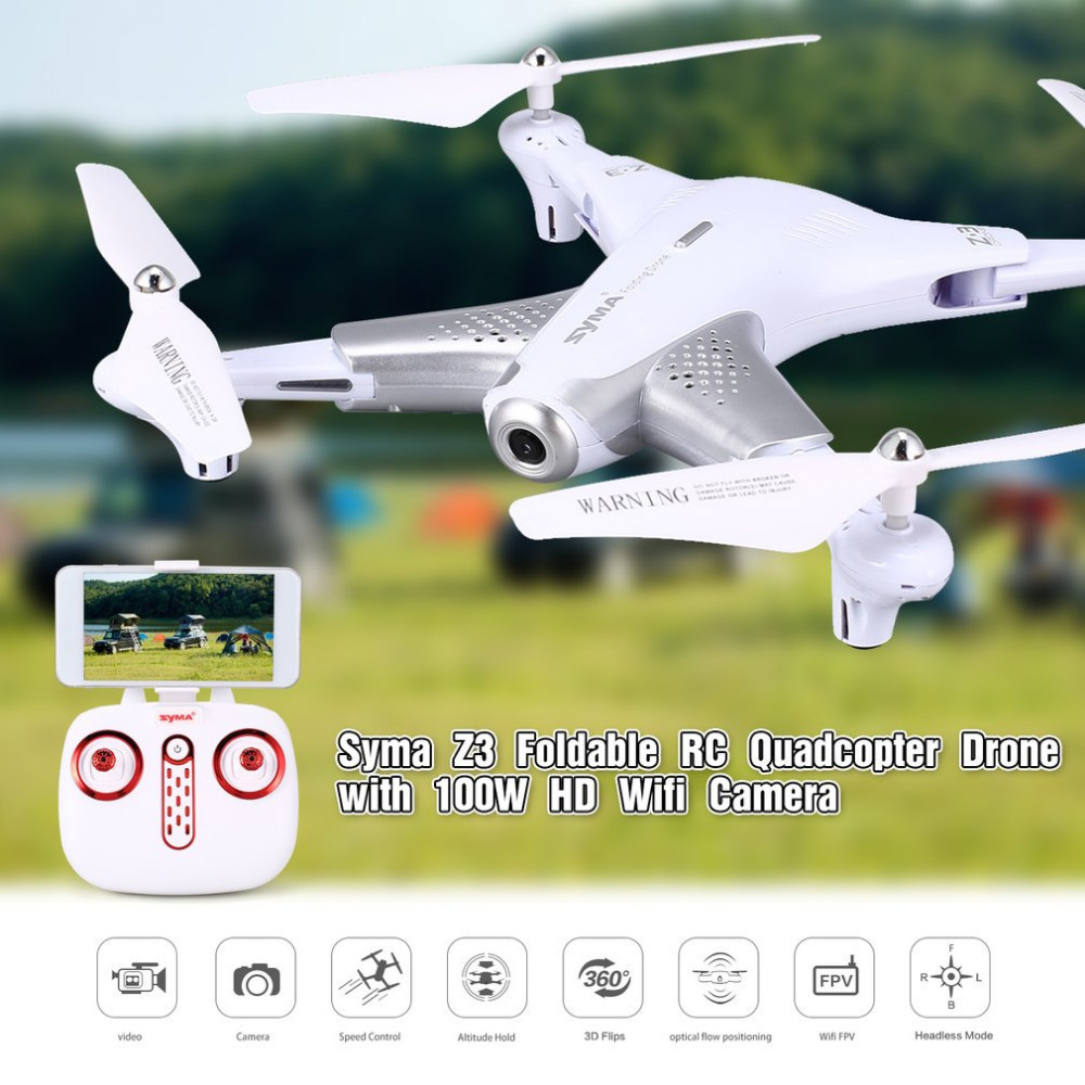Syma Z3 Smart Foldable FPV RC Quadcopter Drone With HD Wifi Camera Real-time Altitude Hold Flow Hover Headless Mode Aircraft syma quadcopter high tech new 2 4g altitude hd camera rc drone 0 3mp wifi fpv live helicopter hover quadcopter drone may