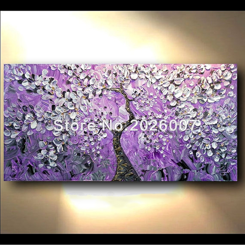 Hand painted abstract thick palette knife flower tree for Canvas painting of cherry blossoms