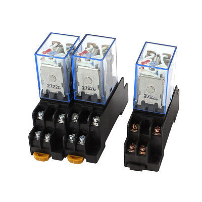 3 Pcs AC 110V/120V 5A Coil Red Lamp 35mm DIN Rail DPDT 8Pins Power Relay + Base  Free Shipping hh52pl dc 220v coil 8 pins dpdt green led indicator light power relay 5 pcs free shipping