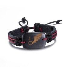 2017 Couple Bracelets New Design Alloy Hook Genuine Leather Rope Charm Bracelet Bangle Wristband Cuff Women Men Jewelry