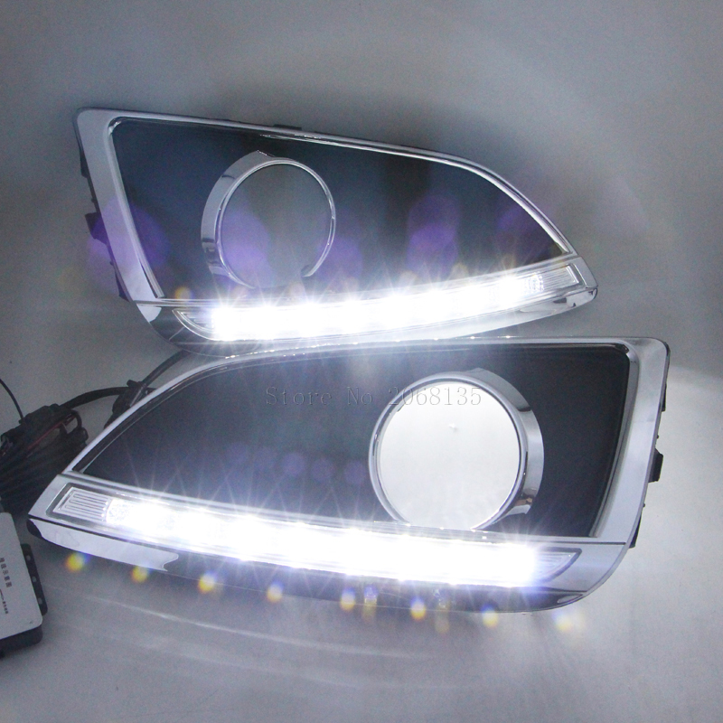 High quality For Hyundai ix35 IX35 2010-2012 Bright White LED DRL Driving Daytime Running Day Fog Lamp Light with black auto car led white drl driving daytime running light fog lamp daylights for hyundai ix35 2014 2017 2pcs free shipping d35