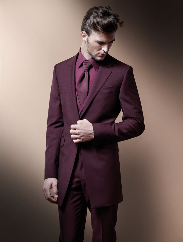 Online Shop 2015 Fashion Bridegroom Long-style wine red Prom suits ...