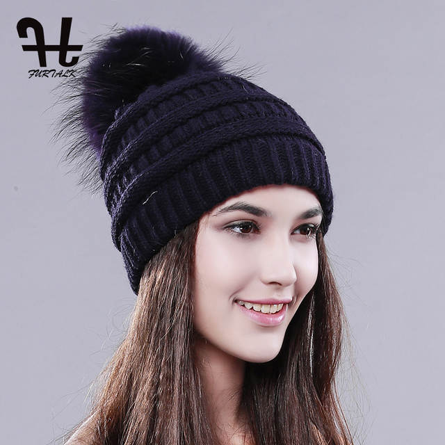 FURTALK Womens Winter Spring hat Knit Beanie Raccoon Fur Pom Poms Hat  Bobble Hat CC Cap 037fbdb4d5f