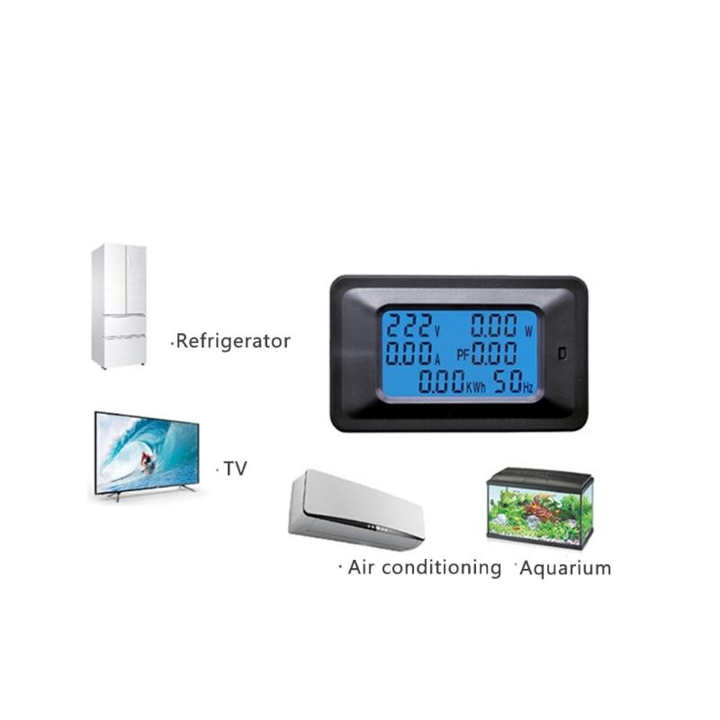 20/100A AC Pannello LCD Digital Misuratore di Potenza Watt KWh Monitor di Tensione Voltmetro Amperometro #0616
