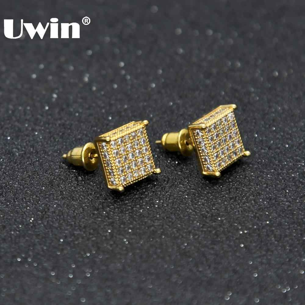 Uwin Pria Fashion Square Stud Anting-Anting CZ Bling Micro Pave Cubic Zirconia Emas Perak 7 Mm & 10 Mm Anting-Anting punk Hip Hop Perhiasan 2017