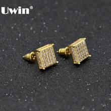 2fd6e851a Uwin Men Fashion Square Stud Earrings CZ Bling Micro Pave Cubic Zirconia  Gold Silver 7mm&10mm Earring Punk Hiphop Jewelry 2017