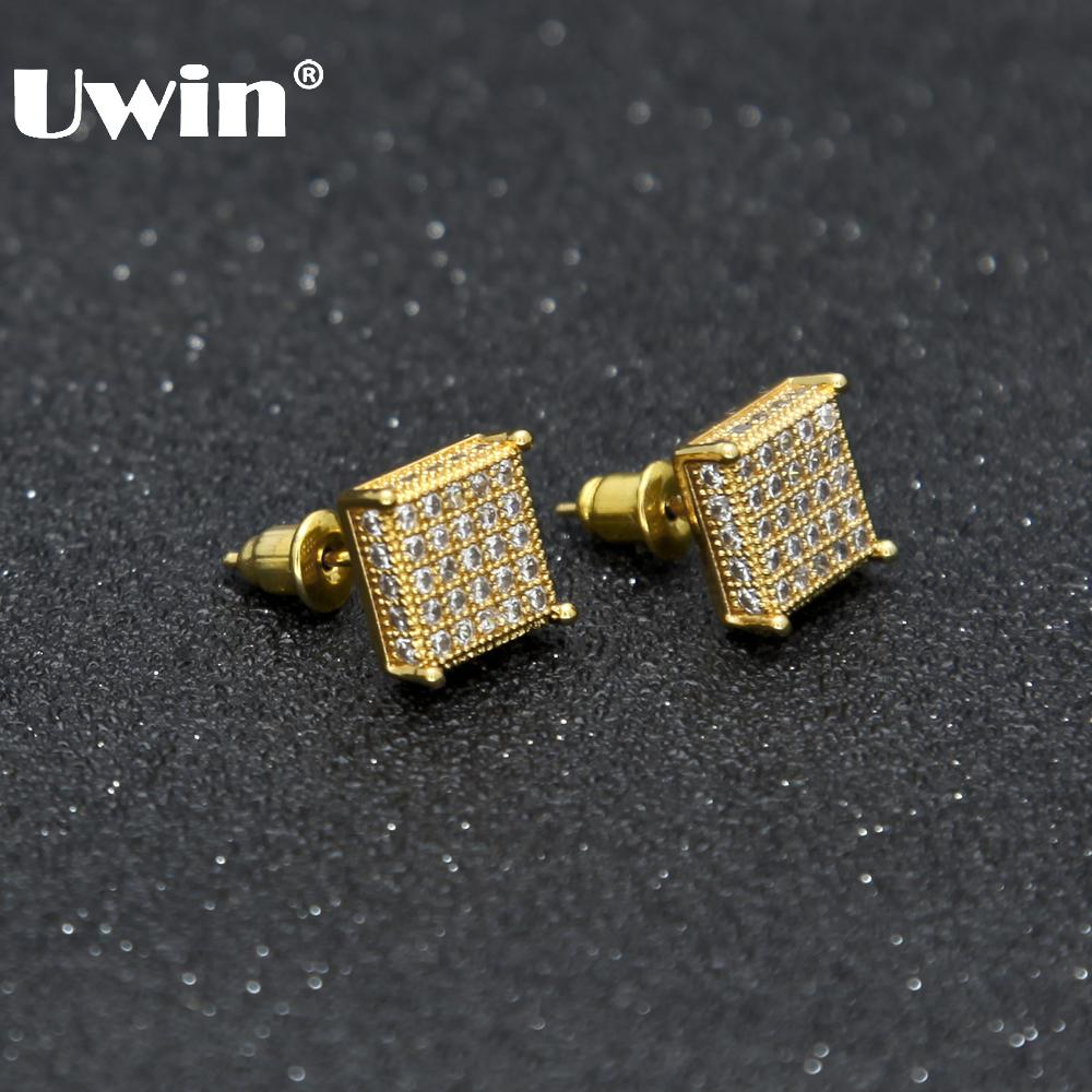 Uwin Men Fashion Square Stud Earrings CZ Bling Micro Pave Cubic Zirconia Gold Silver 7mm&10mm Earring Punk Hiphop Jewelry 2017
