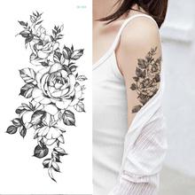 Tymczasowa naklejka tatuaż kwiat piwonia róża szkice tatuaż wzory sexy dziewczyny model tatuaże ramię nogi czarne henna naklejki kobiet tanie tanio Tattrendy 21cm*10cm Arm sleeve tattoo Waterproof Once eco-friendly nontoxic Zhejiang China