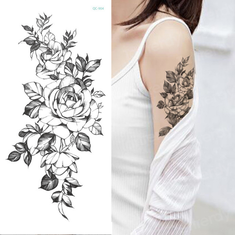 temporary tattoo sticker flower peony rose sketches tattoo designs sexy girls model tattoos arm leg black henna stickers women