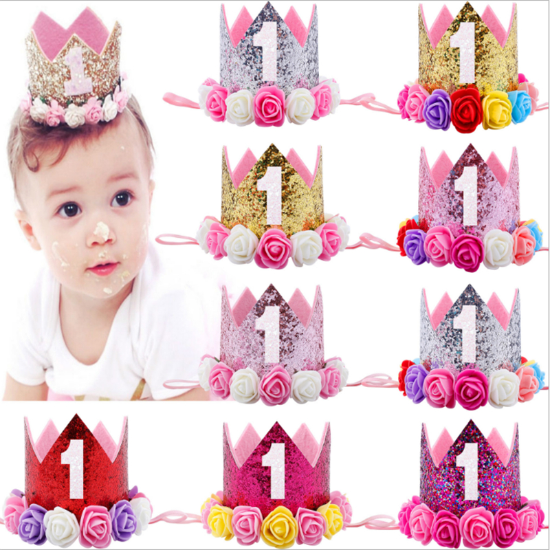 Gold First Birthday Crown 1st Girl Princess Crown Headband One Year Old Birthday Party Decorations Kids Baby Shower Favor.S
