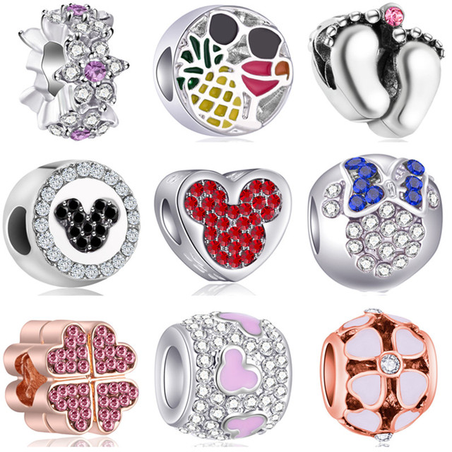 High Quality Flower Star Bee Heart Mickey Adorable Crystal Beads Fit Original Pandora Charms Bracelets Women DIY Jewelry Perles