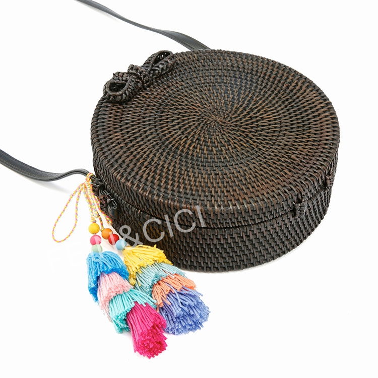 sacs de paille cercle rond en rotin sac noir gland sac de. Black Bedroom Furniture Sets. Home Design Ideas