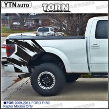 TORN  body rear tail side graphic vinyl decalsbody  tail side graphic vinyl decals for Ford FORD F150 RAPTOR 2009 -2014 KK woven tape side heathered graphic pullover