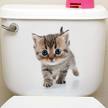 Cats 3D Wall Sticker Toilet Stickers Hole View Vivid Dogs Bathroom Home Decoration Animal Vinyl Decals Art Sticker Wall Poster 25