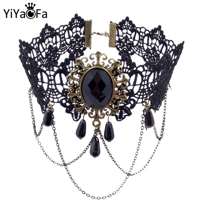 YiYaoFa Vintage Choker Necklace Gothic Jewelry Necklaces & Pendants False Collar Statement Necklace for Women Accessories GN-07