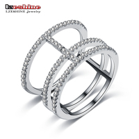 LZESHINE Luxury Brand Sterling Silver Rings For Party Accessories Jewelry Sparkling CZ Fashion Finger Rings For