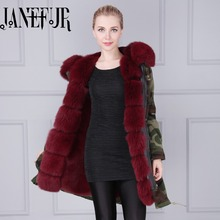 Janefur Faux Fur Lining Women's Hoodies Ladies Coats Winter Warm Long Coat Jacket Cotton Thermal Parkas Mujer Invierno