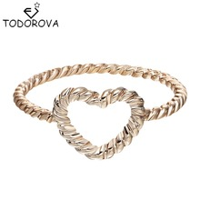 Todorova Hot Sale Lovers' Gift Twist Heart Ring for Women Vintage Jewelry Bague Bijoux Accessories Wedding Engagement Ring