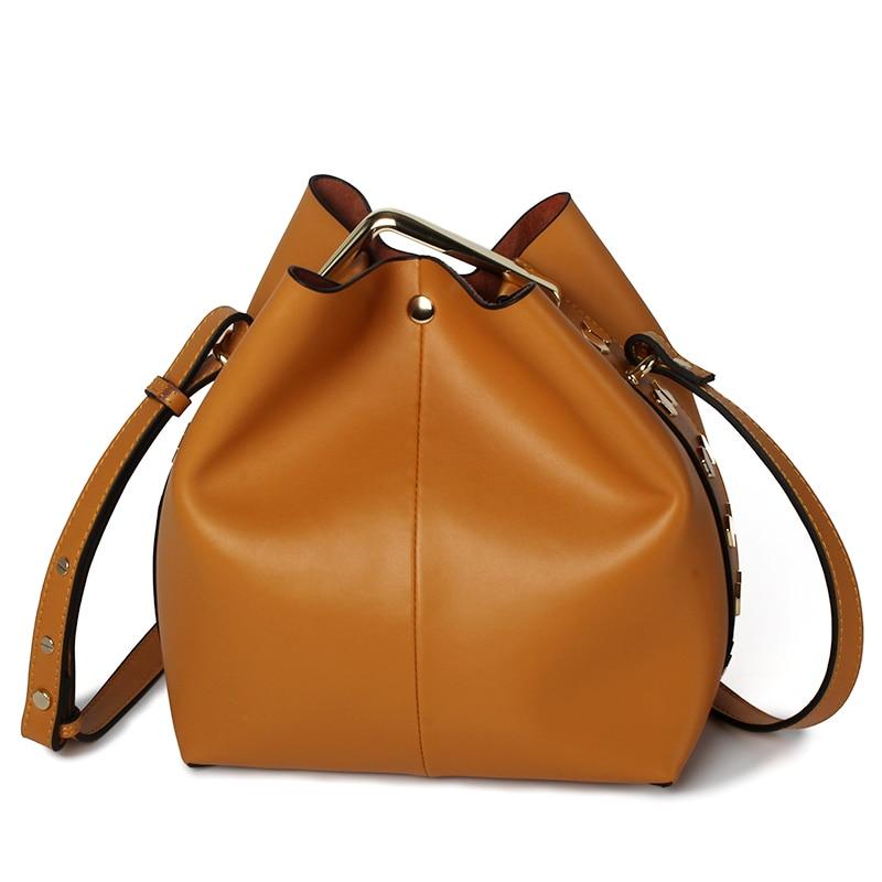 2018 New women/ Genuine Leather luxury shoulder / Crossbody bags / Rivets Bucket Bags 2018 new