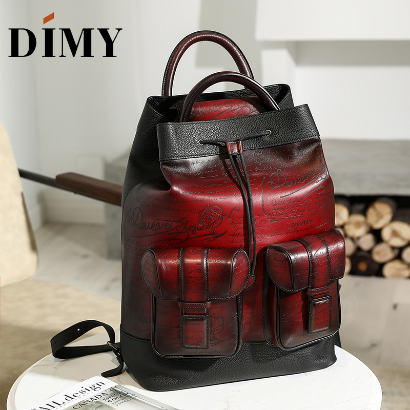 DIMY Handmade Patina 100% Calfskin Backpack Women Leather Genuine Laptop Mens Vintage Style Large-capacity Travel Bag DM8391-1