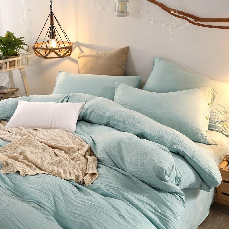 3/4 PCS твърди меки спално бельо измити памук голи постелки комплекти двойно пълен кралица крал кит подово покритие калъфка плоско легло  t