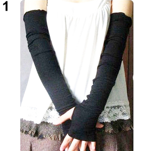 Women's Cotton UV Protection Arm Warmer Long Fingerless Long Gloves Sleeves 9DX8