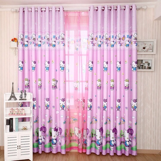 Home window decoration cartoon Children\'s curtains purple ...