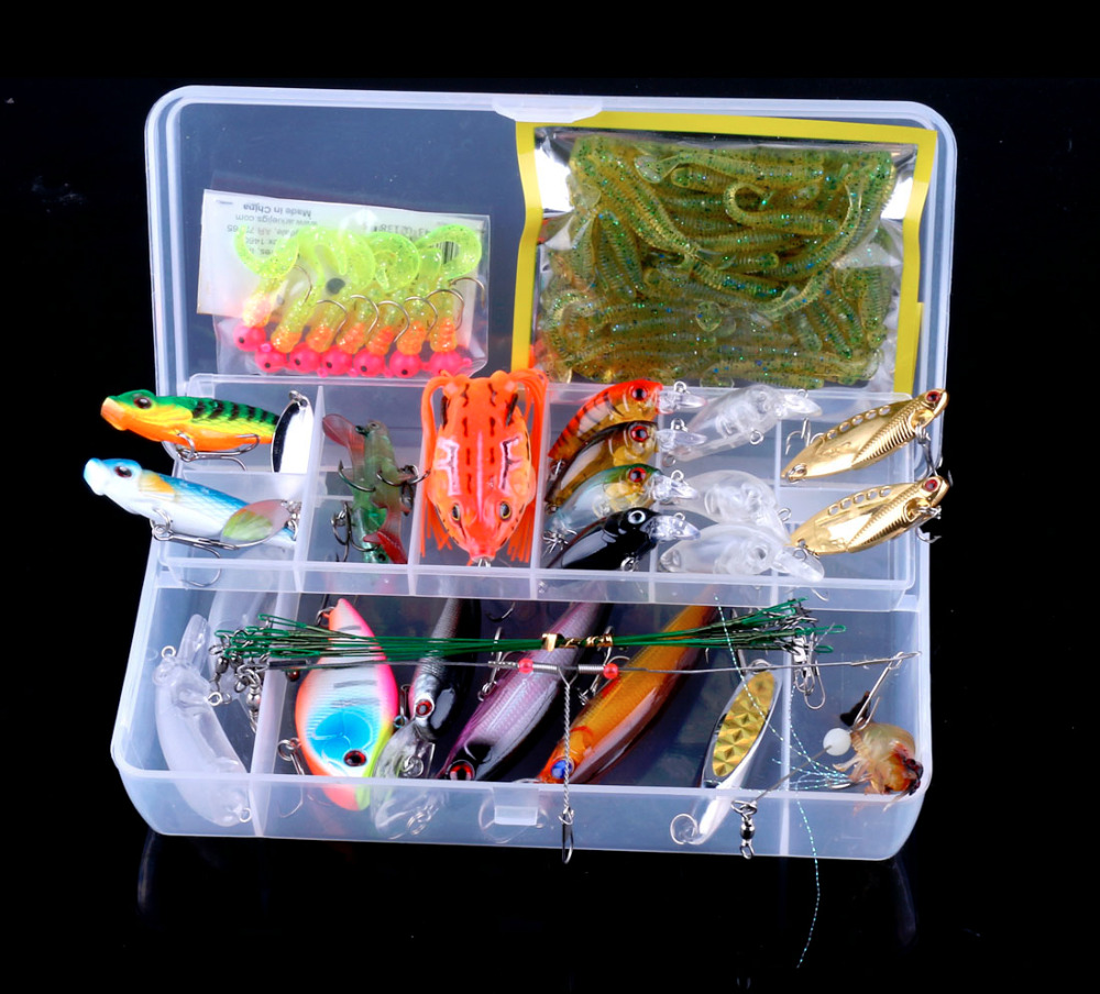 HENGJIA 90pcs Mixed Fishing Lure Set Box Kit fishing blance isca artificial Minnow Crank bait Metal VIB Soft Grub/Shrimp/Frog fishing lure kit metal lure soft bait plastic lure wobbler frog lure free shipping