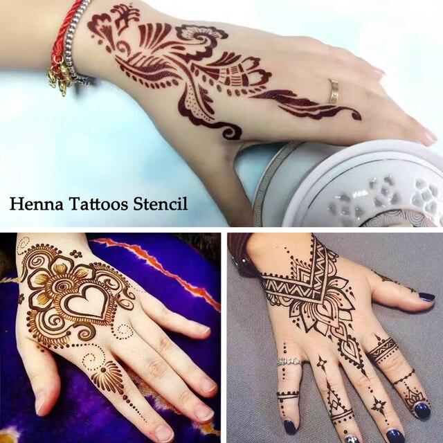 1 satz heier hohl temporre henna tattoo schablonen vorlagen einfach mehndi blumen muster geflschte tattoos fr - Henna Muster Fur Anfanger
