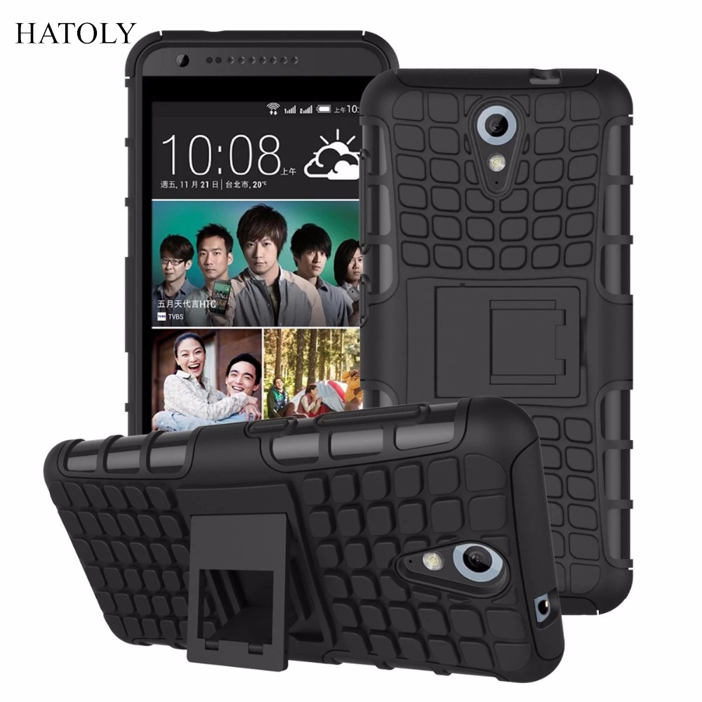 For HTC Desire 620 Kickstand Case Heavy Duty Armor Shockproof Hybird Hard Soft Silicon Rugged Rubber Cover 620g Case