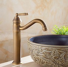 Antique Brass Retro Style Single Hole Basin Faucet Deck Mounted Single Handle Hot And Cold Water Tap znf215 недорого
