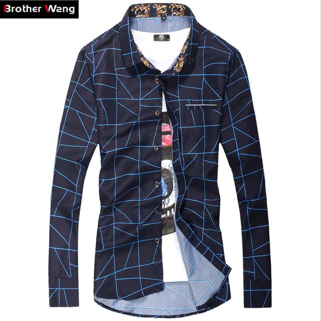 Nuevos hombres Ocasionales Camisas de Celosía de Moda de Impresión de Gran Tamaño Camisa Ropa Formal de Negocios de manga larga Camisa Masculina Marca ropa