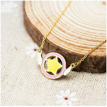 Sailor Moon Pink Five Star Tool Crystal Pendant Necklace Pretty Guardian Anime Cardboard Cosplay necklaces,