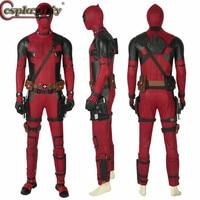 Cosplaydiy Deadpool 2 Costume Wade Winston Wilson Cosplay Jumpsuit Mask Belt Gloves Halloween Carnival Accessories Custom Made