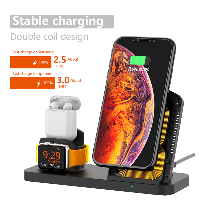 Image 4 - Fast 3 in 1 Wireless Charger for iPhone 3in1 Wireless Charging Dock Station Qi 10W for iPhone X XS Max XR 8 AirPods Apple Watch-in Mobile Phone Chargers from Cellphones & Telecommunications
