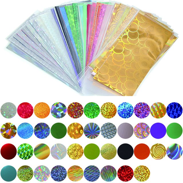 42 Sheets 35cm*4cm Mix Color Nail Transfer Foils, Full Cover Nails Sticker Art For DIY, Glitter 3D Nail Art Decorations WY345