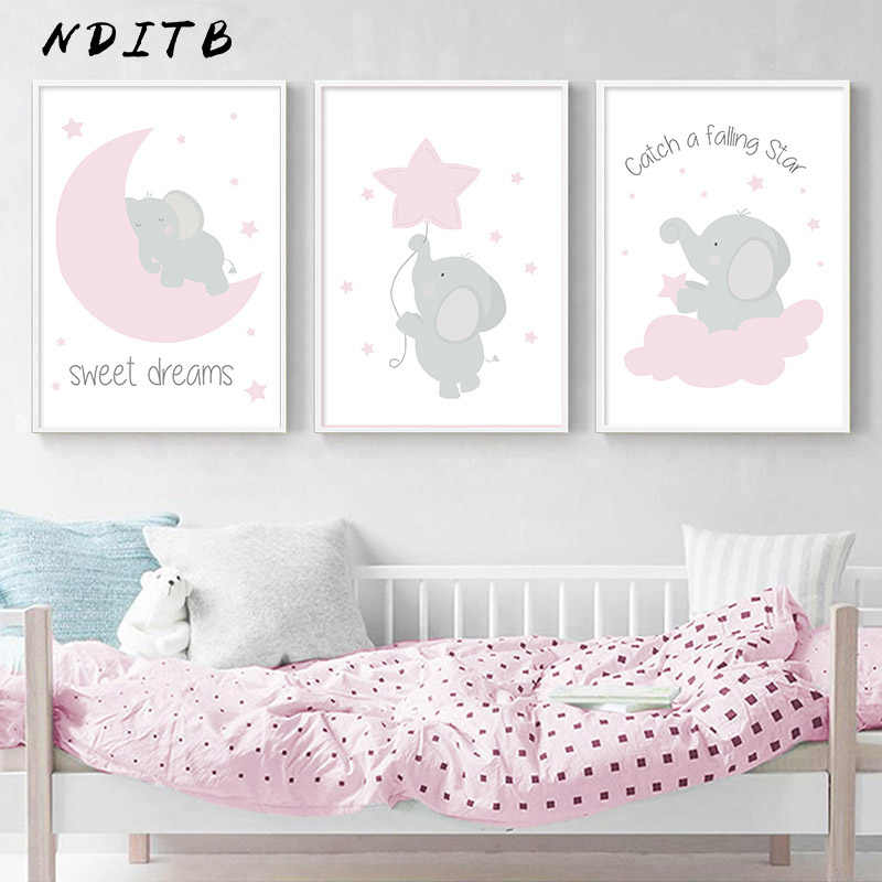 Pink Elephant Star Canvas Children Poster Print Baby Girl Nursery Wall Art Picture Painting Nordic Kids Bedroom Decoration