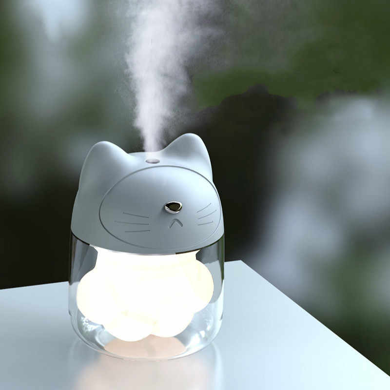 USB Gato Umidificador Ultrassônico Cool-Névoa Bonito Mini Umidificador de Ar Com Luz LED Mini Fan USB para Home Office