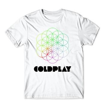 2017 Summer Fashion Men T Shirt Spaceman Colorful Circle Coldplay Logo Prints T-Shirt Short Sleeve O-Neck Casual White Tops Tees