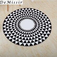 b24ce439 Breve moderno negro blanco geométrico alfombra redonda diámetro 60/80/100/ 120/160/180/ 200 cm sala de alfombras