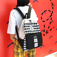 Fashion Plaid Print Women Backpack College Style Students Girls Schoolbag Fresh Lady Travel Backpacks Canvas Back Pack New 2019